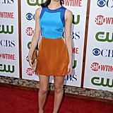 Emmy Rossum in an Etro colorblock dress and Brian Atwood sandals.