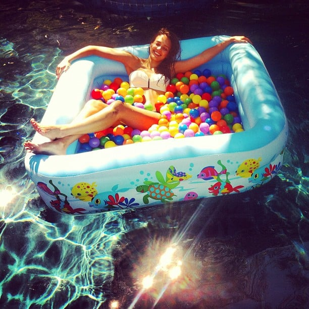 Jessica Alba swam in a pool within a pool. Source: Instagram user cash_warren