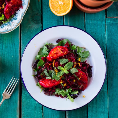 Raw Beetroot, Lentil, and Mint Salad With Orange Dressing