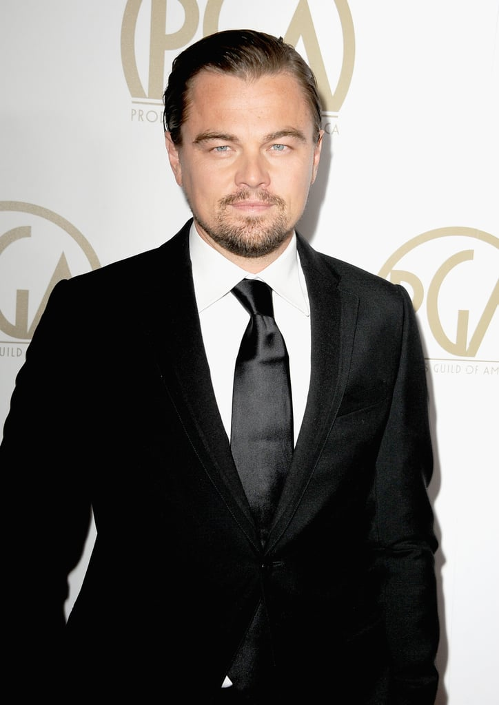 Leonardo DiCaprio kept it simple in a black suit.