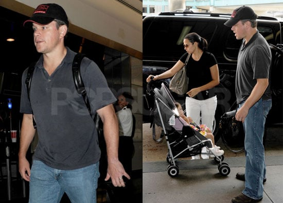 Pictures of Matt Damon at the Airport With His Pregnant Wife Luciana