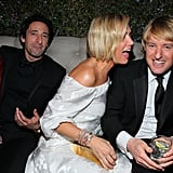 Kristen Wiig got up close and personal with Owen Wilson, while Adrien Brody and model Mara Lieto sat nearby at The Beverly Hilton.