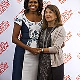 Michelle Obama posed with Margarida Sousa Uva Barroso, wife of European Commission President José Manuel Barroso, on Tuesday.