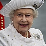 The queen wore white for the Thames Diamond Jubilee Pageant festivities.