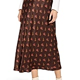 Something Navy Floral Midi Slip Skirt