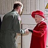 Queen Elizabeth II visits Prince William at RAF Valley in 2011