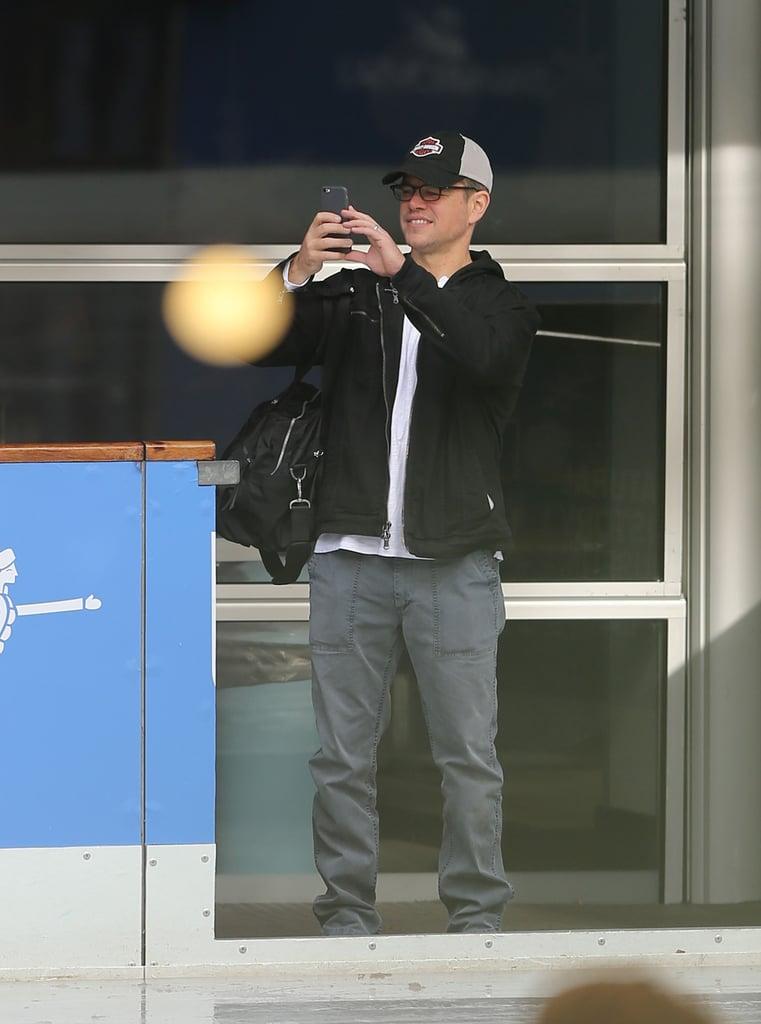 Matt Damon and His Family Ice Skating in London