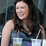 Lindsay Price was all smiles during a meal with friends.