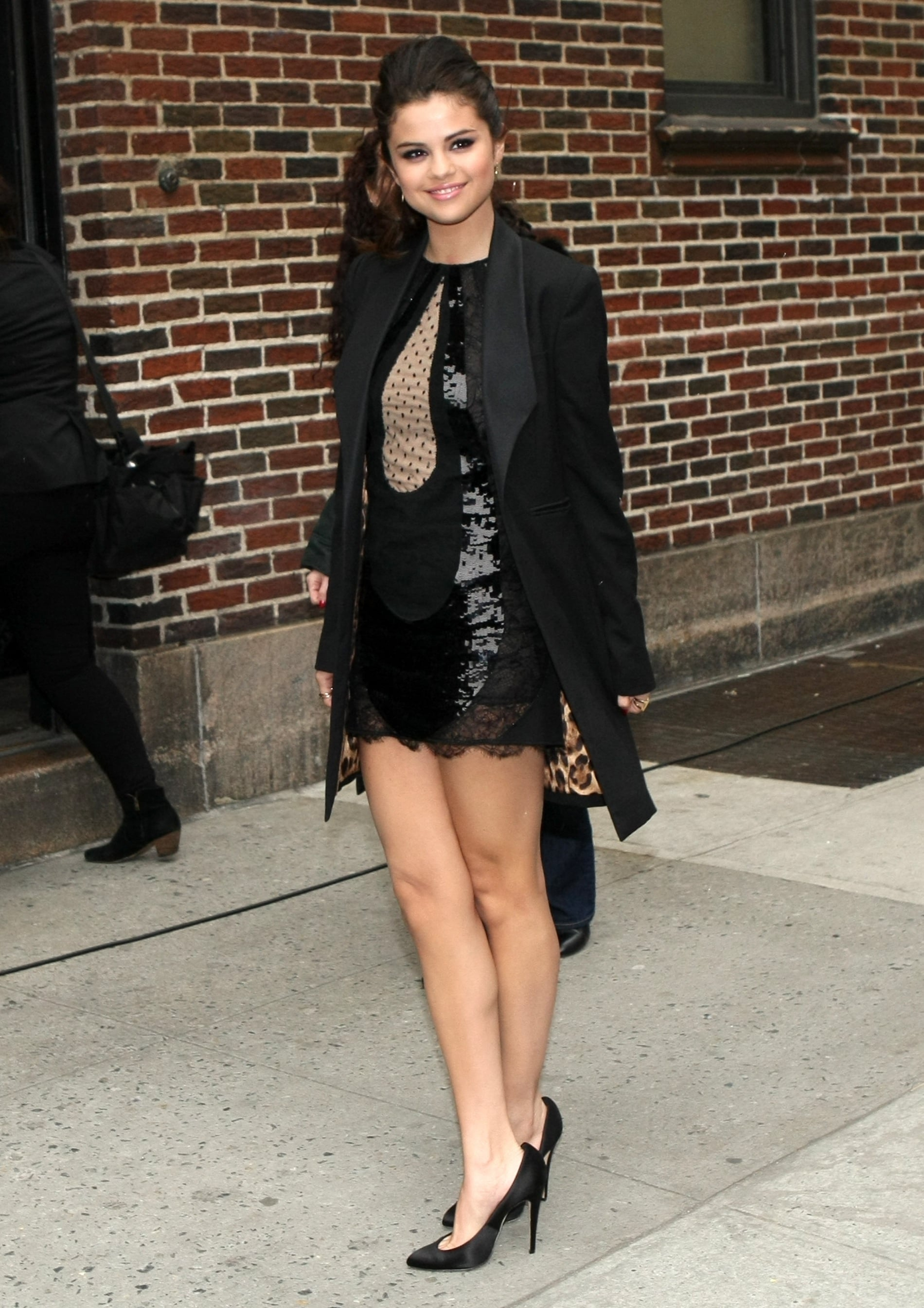Selena slipped into a sequin and lace Versace LBD, featuring a playful polka-dot inset, while visiting the Late Show With David Letterman in March 2013.