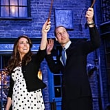 They may be royals, but Will and Kate, who visited the Harry Potter set, are still muggles.