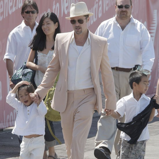 Brad Pitt held onto Pax and Maddox's hands as they left Venice after the 2008 festivities.