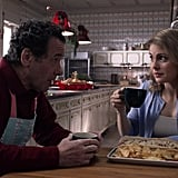 "Speaking of Amber's dad and his diner, he continues to make the most absurd New York references, making Amber a ""Coney Island bloodhound"" sandwich and noting that Aldovia's streets ""sure beat the Bronx Expressway."" In case you forgot who he was, he's helpfully wearing his ""Rudy's Diner"" shirt in a few scenes. There was nothing else you wanted to pack, buddy? Not like, a nice button-down or something? He deeply insults the palace's chef a few times, insisting that his daughter deserves to have diner food at her royal wedding. I repeat: diner food at her royal wedding. It also seems like the movie is setting up a romance between Rudy and the palace chef, which is ridiculous but also fine (I GUESS) since Amber and Richard are barely ever together and always fighting. To make it crystal clear that her father is Not From Around These Parts™, the script even has him suggest the palace decorate for the holidays with those giant inflatables. Sigh."