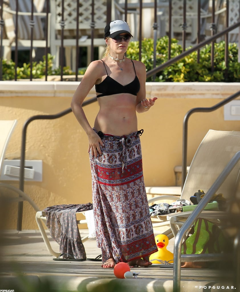 Gwen Stefani donned a patterned maxi skirt as a cover up.