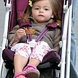 Tabitha snacked on breakfast from the comfort of her stroller.
