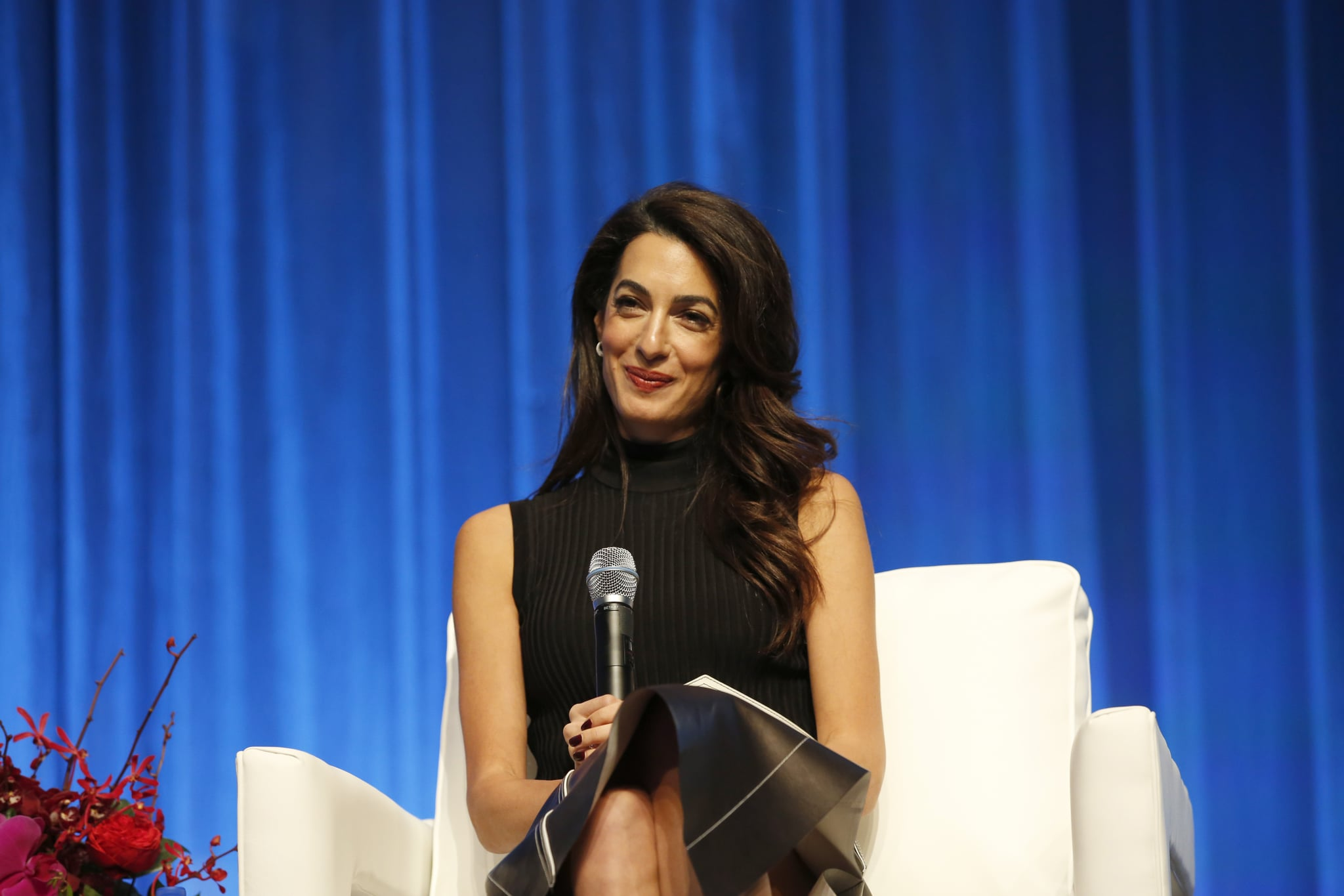 BOSTON, MA - DECEMBER 06:  Human rights lawyer Amal Clooney speaks on stage during 2018 Massachusetts Conference For Women at Boston Convention & Exhibition Centre on December 6, 2018 in Boston, Massachusetts.  (Photo by Marla Aufmuth/WireImage )