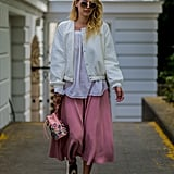 Wear your midi skirts exclusively with sneakers.