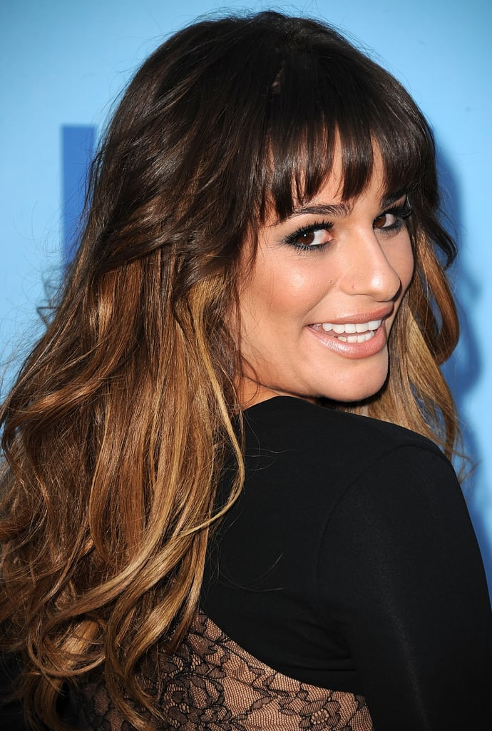 Lea Michele wore a black, lacy dress.