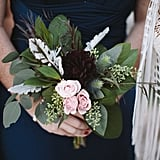 Spray roses, eucalyptus, lamb's ear, and chrysanthemum