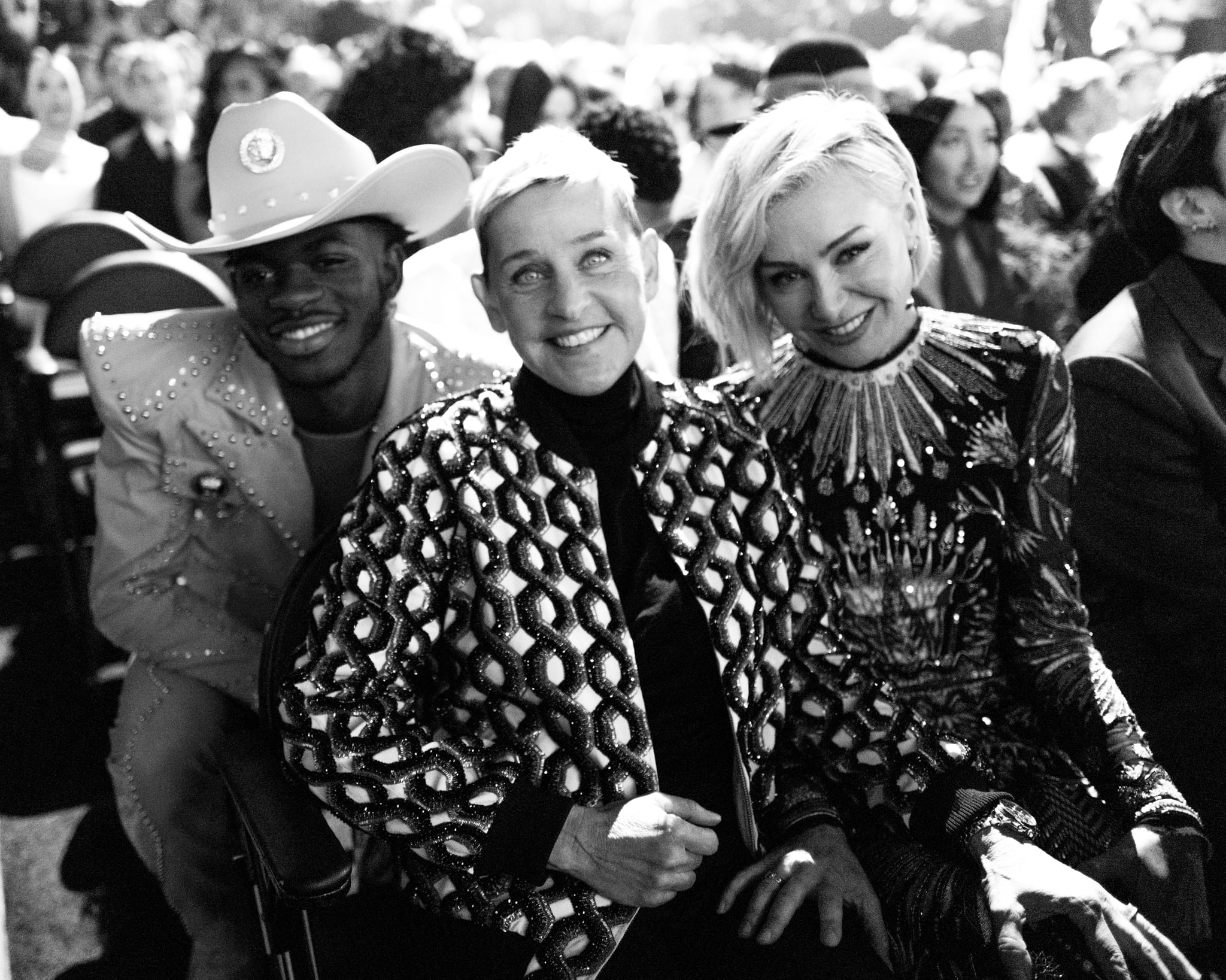 LOS ANGELES, CALIFORNIA - JANUARY 26:(EDITOR'S NOTE: This image has been converted to black and white. Colour version available.) (L-R) Lil Nas X, Ellen DeGeneres, and Portia de Rossi attend the 62nd Annual GRAMMY Awards on January 26, 2020 in Los Angeles, California. (Photo by John Shearer/Getty Images for The Recording Academy)