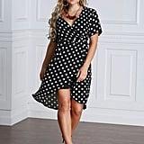 Shein Polka Dot Surplice Tie-Waist Dress