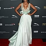 Kelly Rowland wore a low-cut dress to the BAFTA LA Jaguar Britannia Awards.