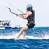 Days later, Barack really let loose when he accepted Richard Branson's kitesurfing challenge. Clad in a tank top and swim trunks, Barack seemed to be in full relaxation mode as he rode the waves and splashed around in the water.
