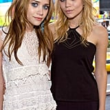In 2004, they made an appearance on MTV's TRL. Mary-Kate wore her strawberry blond hair pinned up and a contrasting blue eyeliner, while Ashley showed off blond hair with bangs.
