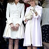 Kate Middleton wore a white Alexander McQueen coatdress and Jane Corbett hat to last year's Order of the Garter service.