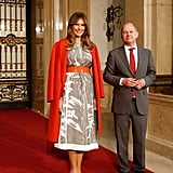 For the G20 Summit in Germany in July 2017, Melania wore a Jil Sander graphic dress, a Bottega Veneta cashmere coat, and Manolo Blahnik heels.
