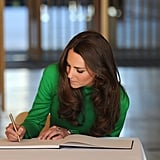 When Kate signed the official visitors book in Australia.