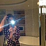 Victoria Beckham snapped a mirror selfie while shooting with fashion photographer Ellen von Unwerth. Source: Twitter user victoriabeckham