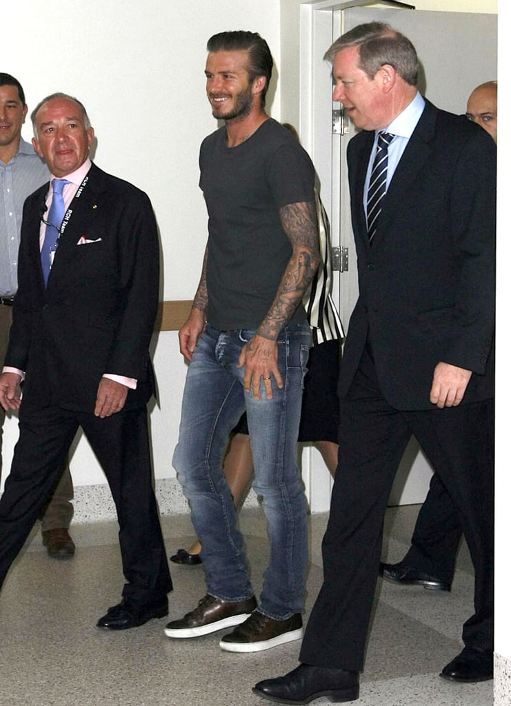 David Beckham lit up the room with his bright smile.