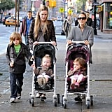 SJP and the kids bundled up for their morning walk.