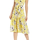 Eliza J Floral Ruffle Detail Crêpe de Chine Fit & Flare Dress