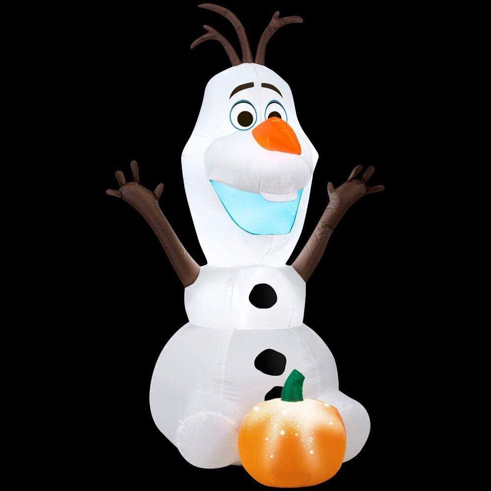 Gemmy Airblown Inflatable Disneyu2019s Olaf With Pumpkin Halloween Yard Decoration