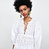 Zara Blouse With Cutwork Embroidery and Bow