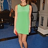 A green minidress, like the one Olivia Munn sported at an event in New Orleans, is a sassy way to recognize the holiday, especially if you're attending a party. Add nude footwear, a statement necklace, and a bold clutch to round out your look with a punch.