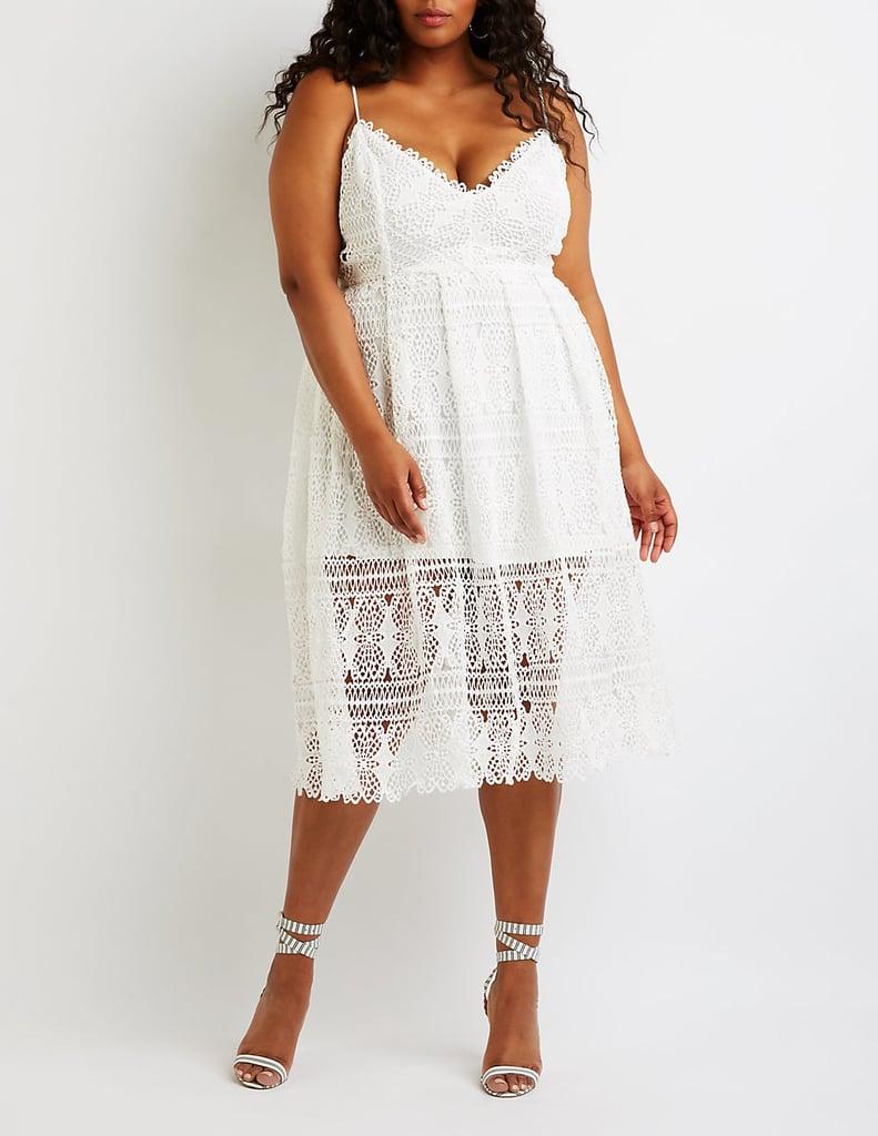 Charlotte Russe Plus Size Crochet V-Neck Midi Dress | Bella Hadid ...