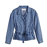 Oversized Tie Jacket in Medium Blue Wash