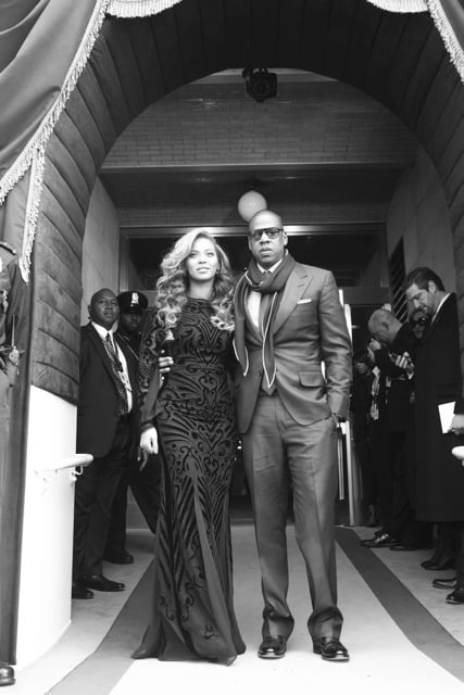 Beyoncé arrived with Jay-Z to the swearing-in ceremony on Monday morning. Source: Tumblr user Beyoncé