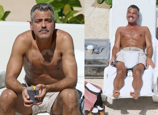 Photos of Shirtless George Clooney With a Mustache in Puerto Rico