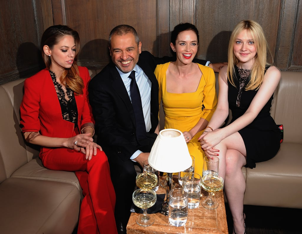 Analeigh Tipton, Elie Saab, Emily Blunt, and Dakota Fanning enjoyed each other's company at a private dinner for Elie Saab in NYC.