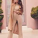 Taylor Hill x Boohoo Fluffy Cropped Roll Neck Trouser Set