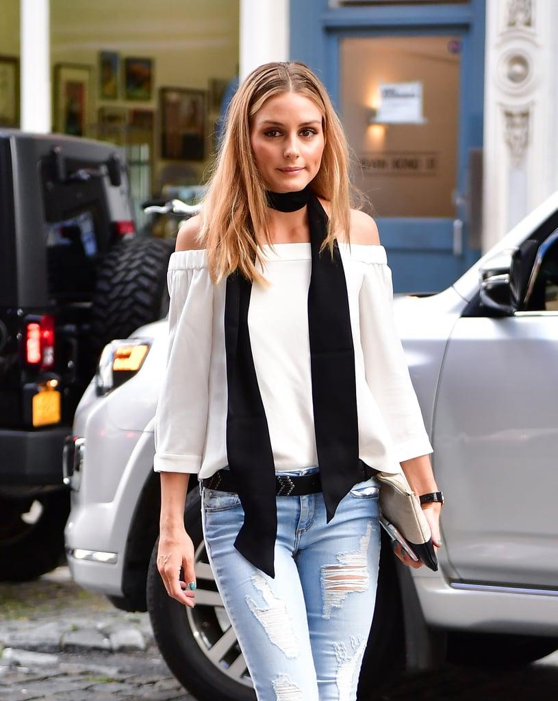 Olivia Palermo Wearing a Skinny Scarf July 2016