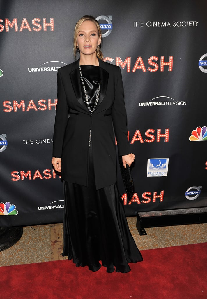Uma Thurman attended the NBC Entertainment & Cinema Society with Volvo premiere of Smash at the Metropolitan Museum of Art.