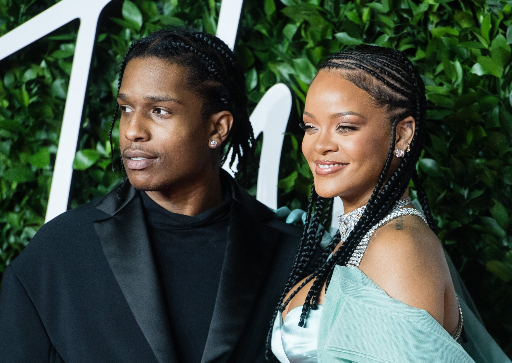 LONDON, ENGLAND - DECEMBER 02:  Rihanna and ASAP Rocky arrive at The Fashion Awards 2019 held at Royal Albert Hall on December 02, 2019 in London, England. (Photo by Samir Hussein/WireImage)