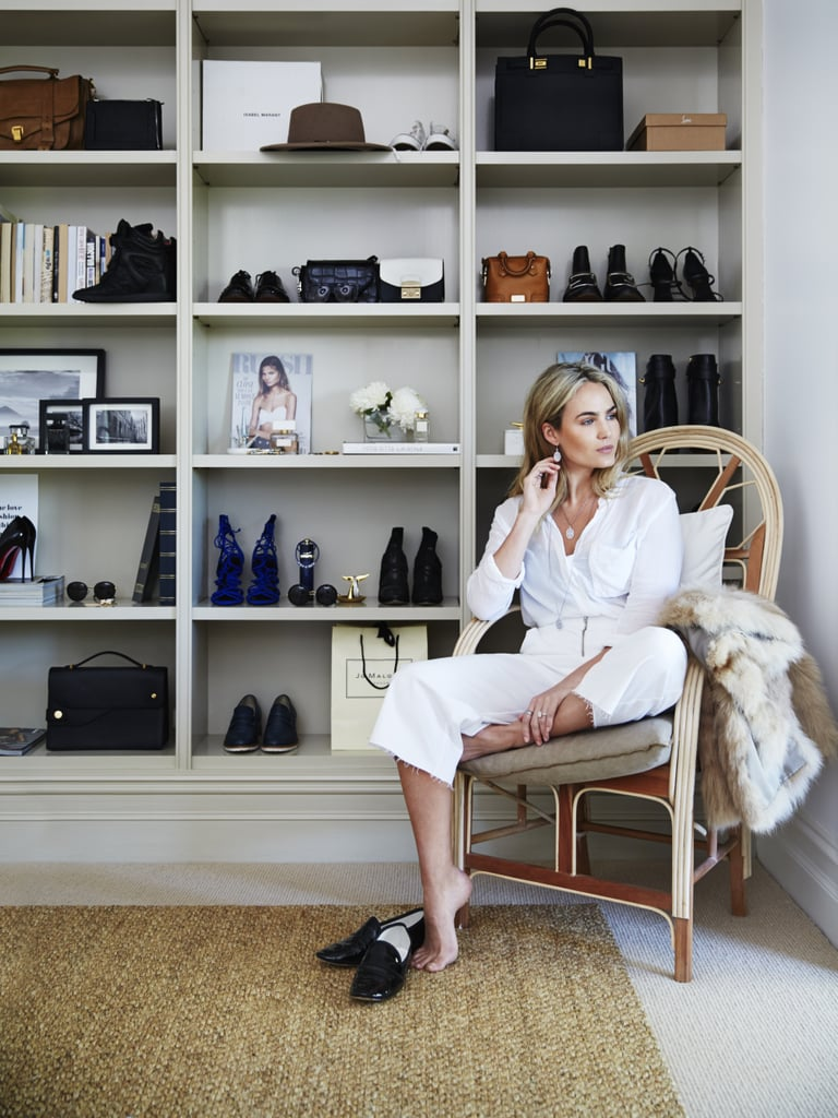 """Upstairs, Brooke displays her favourite shoes, sunglasses, jewellery and watches in a wall-length bookcase — which you can see more of here. """"I like to buy luxury basics. It's worth it. I have jackets that I bought 10 years ago and I'm still wearing them. Which is why I think it's important to invest in denim, jackets, and good shoes that will last me. I take good care of those pieces, and they're the ones that get displayed!"""" Necklace and earrings, PANDORA"""