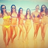 Alessandra Ambrosio hit the beach in a bikini with a group of girlfriends. Source: Twitter user AngelAlessandra