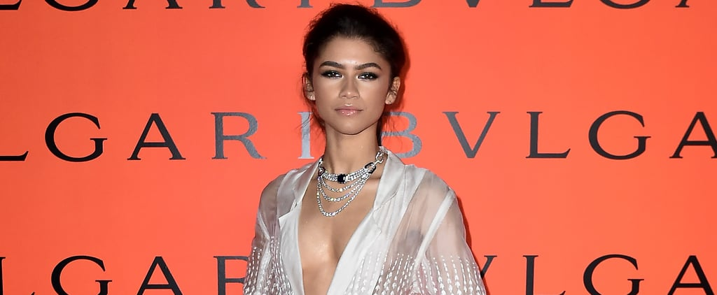 Zendaya's Rahul Mishra Sheer White Duster at Bulgari's Party