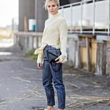 Tuck a Turtleneck Into Cropped Trousers and Finish With Platform Sneakers
